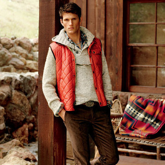 How to wear: dark brown corduroy jeans, multi colored plaid long sleeve shirt, beige cowl-neck sweater, red gilet
