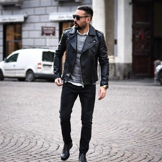 How to wear: black jeans, white long sleeve shirt, grey crew-neck sweater, black leather biker jacket