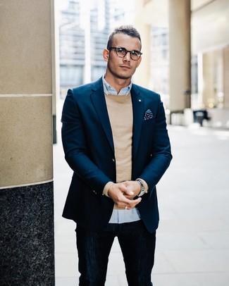How to wear: navy jeans, light blue long sleeve shirt, tan crew-neck sweater, navy blazer