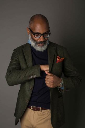 How to wear: khaki chinos, blue chambray long sleeve shirt, navy crew-neck sweater, dark green wool blazer