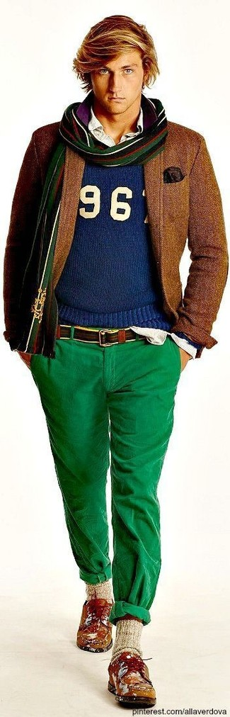 How to wear: green chinos, white vertical striped long sleeve shirt, blue print crew-neck sweater, brown wool blazer
