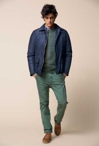 How to wear: green chinos, blue plaid long sleeve shirt, green crew-neck sweater, navy bomber jacket