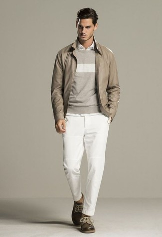 How to wear: white chinos, white long sleeve shirt, grey horizontal striped crew-neck sweater, beige leather bomber jacket