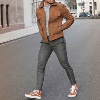How to wear: grey wool dress pants, white long sleeve shirt, grey crew-neck sweater, brown suede bomber jacket