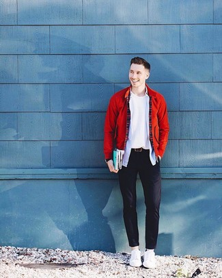 How to wear: black chinos, light blue long sleeve shirt, white crew-neck sweater, red bomber jacket