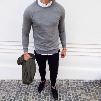 How to wear: black chinos, white long sleeve shirt, grey crew-neck sweater, dark green bomber jacket
