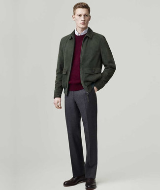How to wear: charcoal wool dress pants, white long sleeve shirt, burgundy crew-neck sweater, dark green suede bomber jacket