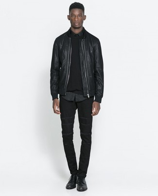 How to wear: black jeans, black leopard long sleeve shirt, black crew-neck sweater, black leather bomber jacket