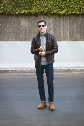 Men's Looks & Outfits: What To Wear In 2020: This combination of a dark brown leather bomber jacket and navy jeans is a safe and very stylish bet. To give your overall getup a dressier spin, why not add a pair of tan suede chelsea boots to this outfit?