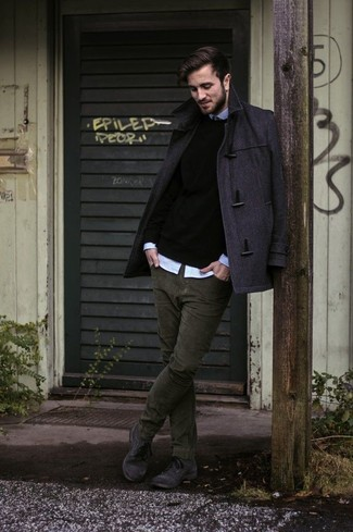 How to wear: olive corduroy jeans, light blue long sleeve shirt, black crew-neck sweater, charcoal duffle coat