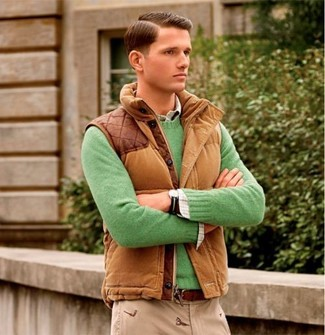 How to wear: beige chinos, white plaid long sleeve shirt, green crew-neck sweater, brown gilet