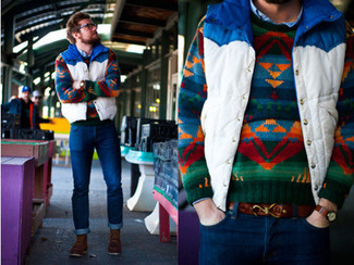 How to Wear a Multi colored Crew-neck Sweater For Men: A multi colored crew-neck sweater and navy jeans have become must-have casual must-haves for most guys. Finishing off with a pair of brown leather casual boots is a surefire way to bring some extra definition to your look.