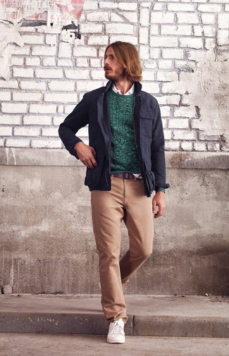 How to wear: khaki chinos, white long sleeve shirt, teal crew-neck sweater, navy military jacket