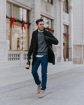 How to wear: blue jeans, white long sleeve shirt, grey crew-neck sweater, black overcoat