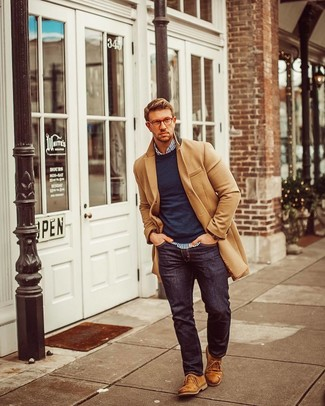 How to wear: navy jeans, white and navy vertical striped long sleeve shirt, navy crew-neck sweater, camel overcoat