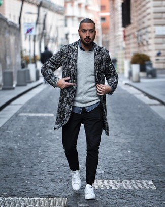 How to wear: black chinos, blue chambray long sleeve shirt, grey crew-neck sweater, black and white tweed overcoat