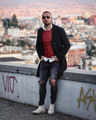 How to wear: charcoal ripped skinny jeans, white long sleeve shirt, burgundy crew-neck sweater, black overcoat