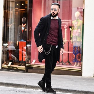 How to wear: black jeans, white long sleeve shirt, burgundy crew-neck sweater, black overcoat