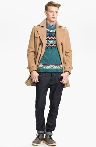 How to wear: black jeans, blue chambray long sleeve shirt, teal fair isle crew-neck sweater, camel overcoat