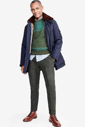 How to wear: charcoal wool dress pants, light blue vertical striped long sleeve shirt, dark green fair isle crew-neck sweater, navy parka