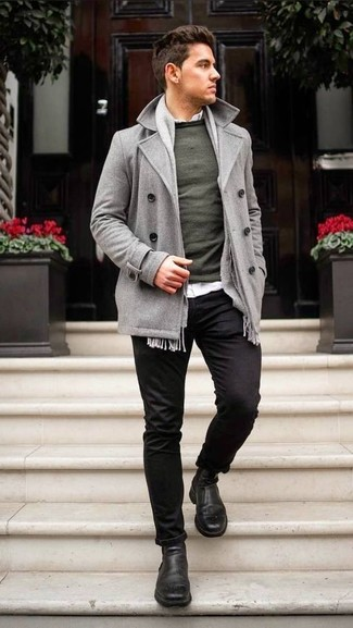 How to wear: black chinos, white long sleeve shirt, dark green crew-neck sweater, grey pea coat