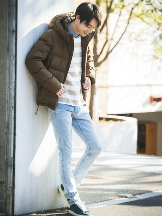 How to wear: light blue jeans, light blue chambray long sleeve shirt, white horizontal striped crew-neck sweater, brown puffer jacket