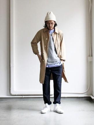 How to wear: black chinos, light blue long sleeve shirt, grey crew-neck sweater, tan raincoat