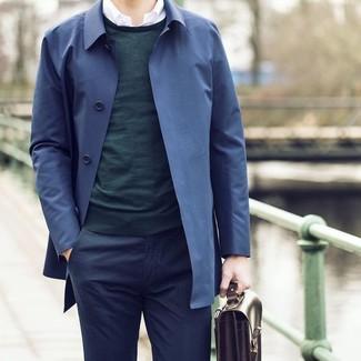 How to wear: navy dress pants, white long sleeve shirt, dark green crew-neck sweater, navy trenchcoat