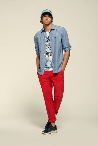 red chinos what to wear with