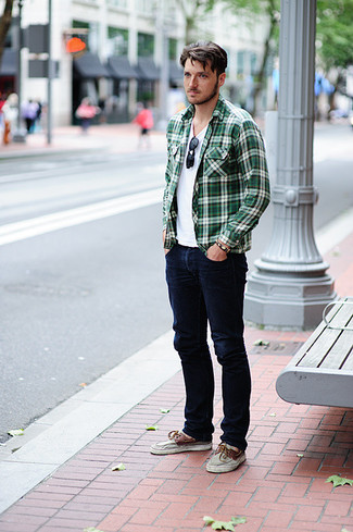 How to wear: green plaid long sleeve shirt, white crew-neck t-shirt, navy jeans, brown leather boat shoes