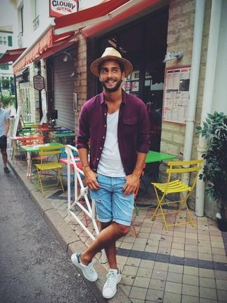 How to wear: purple long sleeve shirt, white crew-neck t-shirt, light blue denim shorts, white plimsolls
