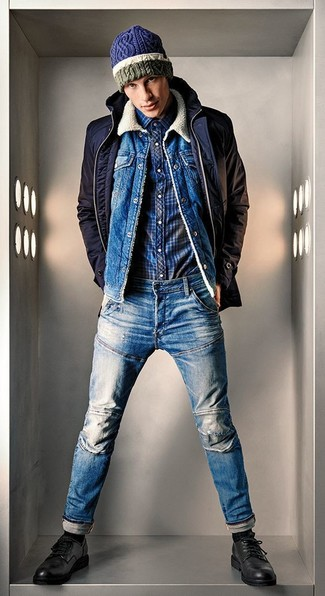 How to wear: blue jeans, navy plaid long sleeve shirt, blue denim jacket, navy barn jacket