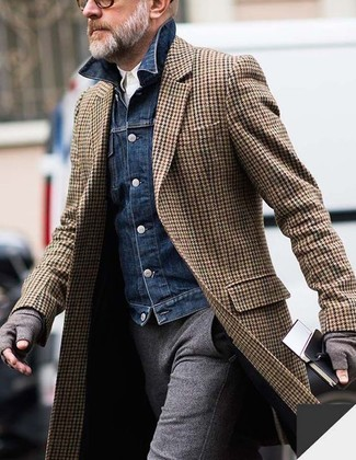 How to wear: grey wool dress pants, white long sleeve shirt, navy denim jacket, brown herringbone overcoat