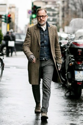 How to wear: grey wool dress pants, white long sleeve shirt, navy denim jacket, brown gingham overcoat