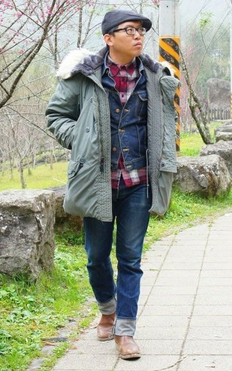 How to wear: navy jeans, red gingham long sleeve shirt, navy denim jacket, mint parka