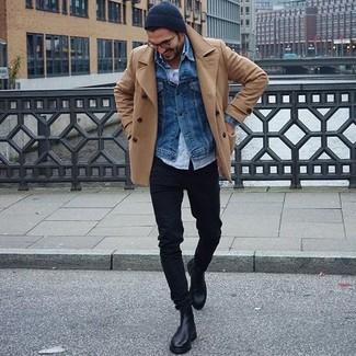 How to wear: white tank, light blue long sleeve shirt, blue denim jacket, tan pea coat