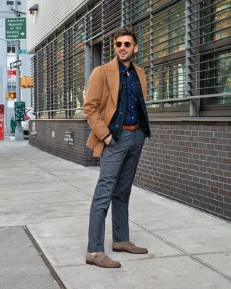 How to Wear a Navy Polka Dot Long Sleeve Shirt For Men: A navy polka dot long sleeve shirt and grey plaid dress pants are the kind of a foolproof combo that you need when you have no time. To bring a little flair to this getup, add a pair of brown suede double monks to the mix.