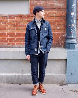 How to wear: grey long sleeve shirt, beige long sleeve shirt, navy denim jacket, navy denim shirt jacket