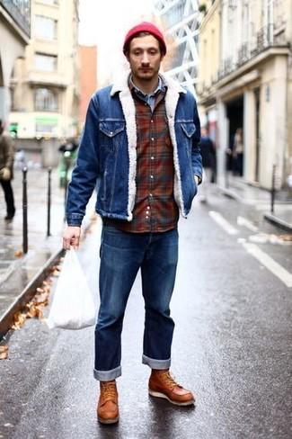How to wear: blue jeans, burgundy plaid flannel long sleeve shirt, light blue denim shirt, blue denim jacket