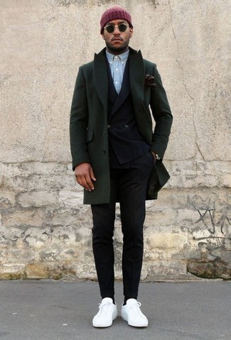 How to wear: black dress pants, light blue chambray long sleeve shirt, black double breasted blazer, dark green overcoat