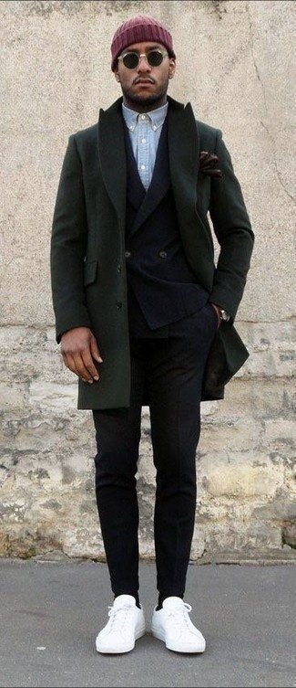 How to wear: black wool dress pants, light blue chambray long sleeve shirt, black wool double breasted blazer, olive overcoat
