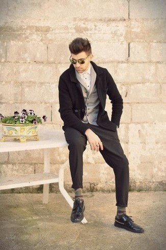 How to Wear Olive Sunglasses For Men: For a relaxed outfit, consider pairing a grey shawl cardigan with olive sunglasses — these two pieces fit nicely together. Black studded leather derby shoes will give a strong and masculine feel to any look.