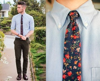 How to wear: light blue chambray long sleeve shirt, dark brown dress pants, dark brown leather oxford shoes, navy floral tie