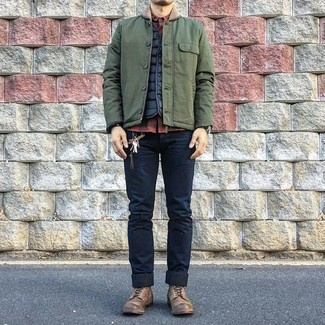 How to wear: navy skinny jeans, red and black check long sleeve shirt, black quilted gilet, olive barn jacket
