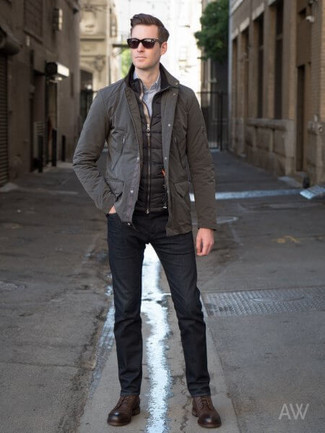 How to Wear a Harrington Jacket: For an ensemble that's super easy but can be modified in a great deal of different ways, pair a harrington jacket with black jeans. Play down the casualness of this getup with dark brown leather derby shoes.