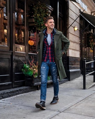 How to wear: grey crew-neck t-shirt, navy and red plaid long sleeve shirt, navy gilet, dark green overcoat
