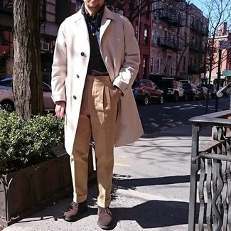 How to Wear Dark Brown Suede Desert Boots: Try pairing a beige overcoat with khaki dress pants if you're aiming for a neat, fashionable outfit. With shoes, you could stick to a more casual route with dark brown suede desert boots.