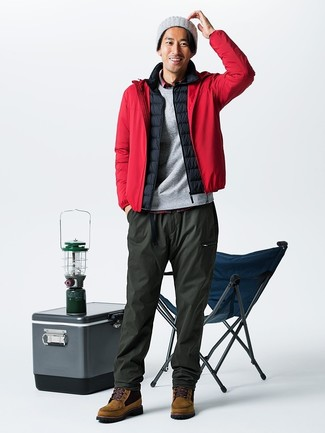 How to wear: olive sweatpants, red plaid long sleeve shirt, black gilet, red windbreaker