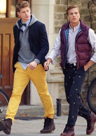How to wear: yellow chinos, white and blue vertical striped long sleeve shirt, grey hoodie, navy blazer