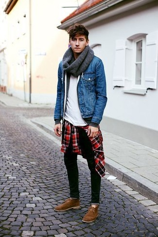 How to wear: white crew-neck t-shirt, red and black plaid long sleeve shirt, charcoal hoodie, blue denim jacket